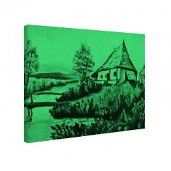 Tablou fosforescent Casa de pe malul raului