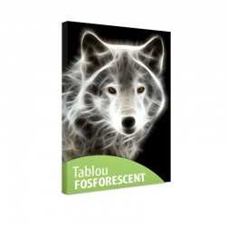 Tablou fosforescent Lup alb