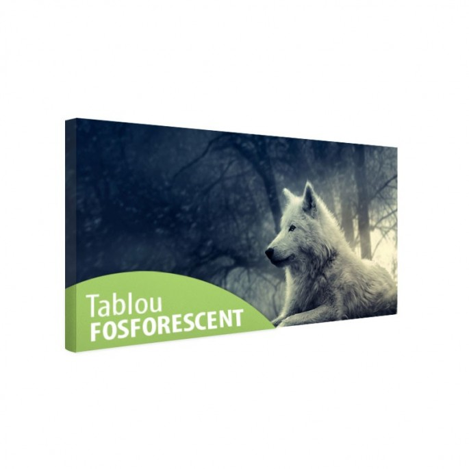 Tablou fosforescent canvas, Lup alb in padure