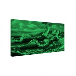 Tablou fosforescent Barca printre stanci