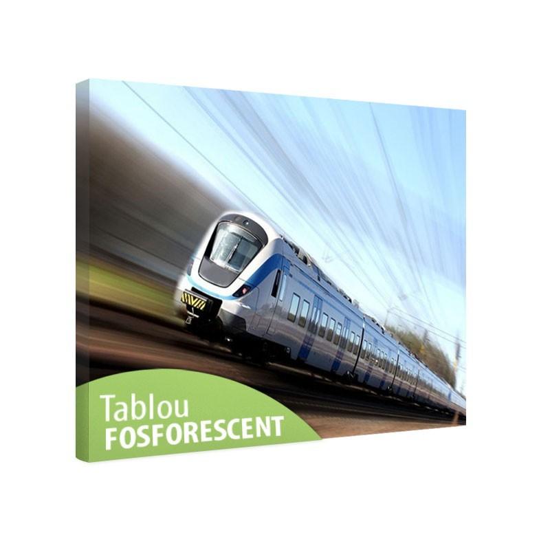 Tablou fosforescent Tren rapid in miscare