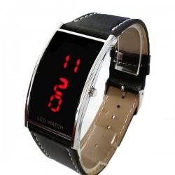 Ceas digital LED, unisex, afisaj rosu, calendar, dreptunghiular, negru