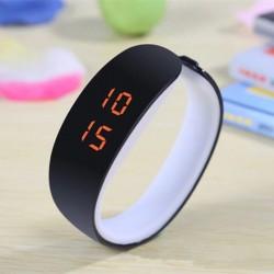 Ceas digital tip bratara, afisaj LED 12/24h, calendar, ABS, negru/alb