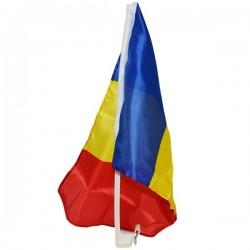 Steag 30x45 cm, Romania, suport de prindere pe geamuri la masina