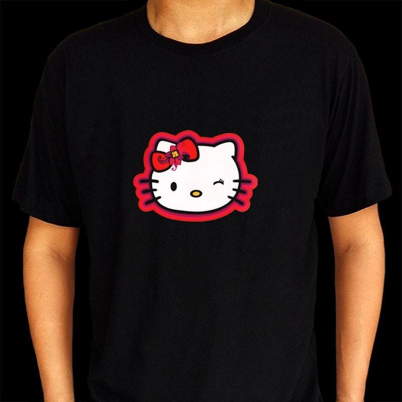 Tricou luminos cu egalizator Hello Kitty