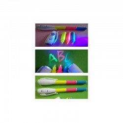 Marker 3 in 1 rosu,verde si albastru invizibil cu lanterna UV incorporata