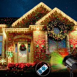 Proiector laser exterior IP44, cu telecomanda, joc de lumini verzi si rosii