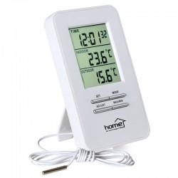 Termometru interior/exterior, ceas si alarma, cu fir, perete sau birou, Home