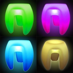Scaun LED RGBW, autonomie 12 h, telecomanda, exterior/interior, 45x41 cm