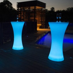 Masa cocktail LED, mobilier bar glow in the dark, telecomanda, 16 culori