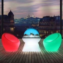 Fotoliu iluminat LED RGBW, 74x80 cm, IP54, telecomanda, acumulator