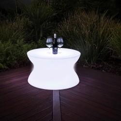 Masa cafea glow LED multicolor, telecomanda si acumulator, rotunda, 70x40cm