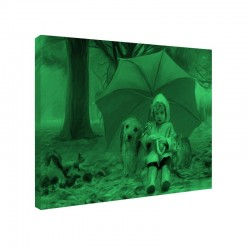 Tablou fosforescent Fetita si animalele, 30x20 cm