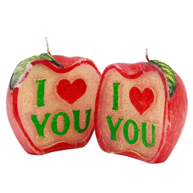 Lumanare decor love apple, diametrul 9cm