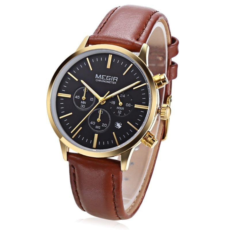 Ceas dama cu quart, afisaj analog, timp, cronograf, calendar, Megir
