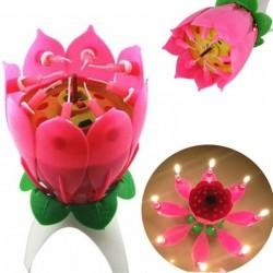 Lumanare muzicala floare Lotus, Happy Birthday, 8 lumanari cu suport