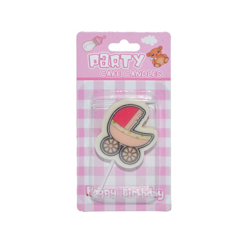 Lumanare tort, carucior baby girl, 4x5x1 cm, roz