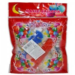 Set 5 baloane party, transparente cu bilute colorate si suport cu rozeta