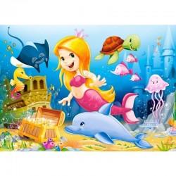Mini puzzle Printese Disney, 24 piese carton, 16.5x11 cm, Castorland