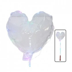 Balon cu LED multicolor, diametru 40cm, forma inimioara, suport tip bat