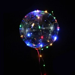 Balon LED multicolor, forma rotunda, diametru 45cm, suport verde
