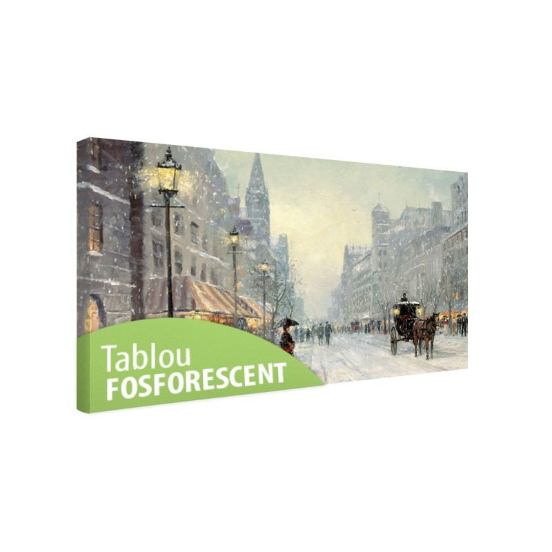 Tablou canvas fosforescent Old city, 90x52 cm