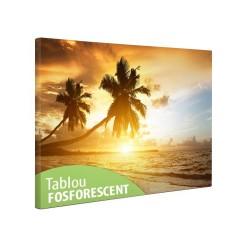 Tablou Tropical Island, print canvas fosforescent, dimensiuni 40x20cm