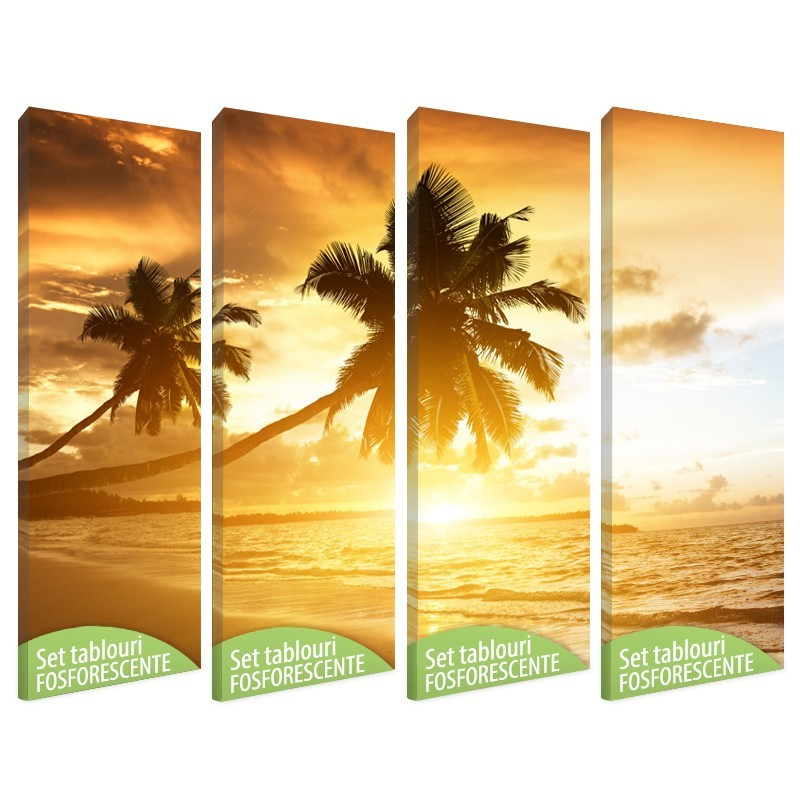 Set tablou canvas fosforescent, Tropical Island, 4 piese 20x60 cm
