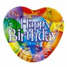 Farfurii carton Happy Birthday, forma inima 18.5x17.5cm, set 10 bucati