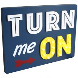 Panou luminos decorativ Turn me ON, 18 LED-uri, 35x3x26 cm, lemn