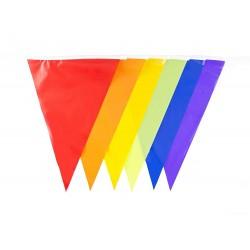 Banner stegulete multicolore, lungime 30 m, 48 steaguri, poliester
