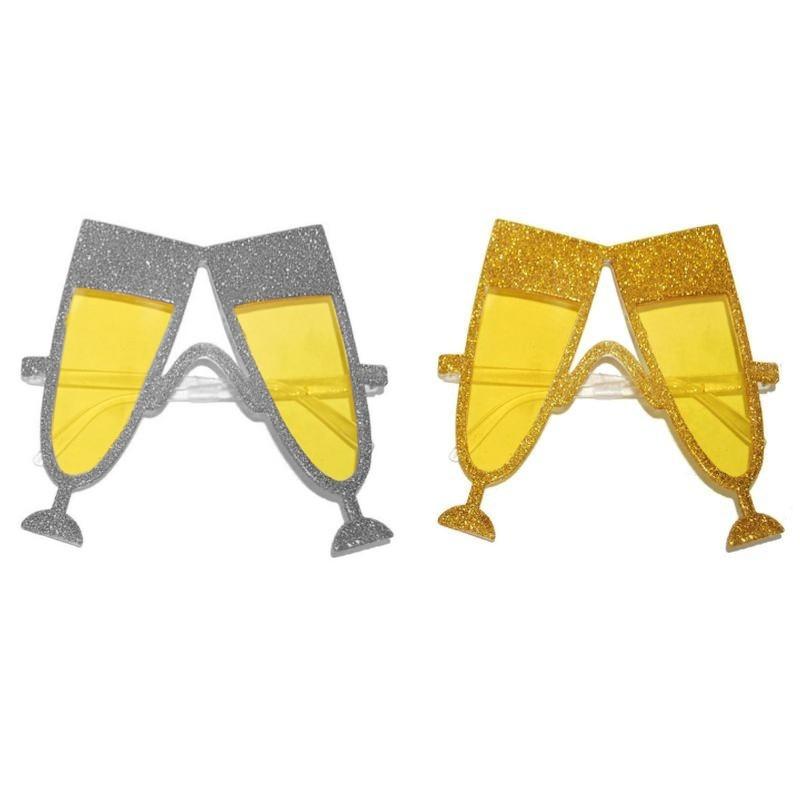 Ochelari party forma pahare de sampanie cu glitter, lentila galbena