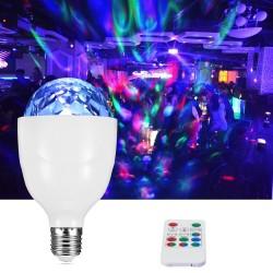 Bec proiector disco LED 3W, E27, rotativ, RGB, senzor sunet, telecomanda