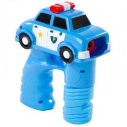 Pistol baloane de sapun, LED multicolor, model masina politie, albastru
