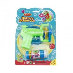 Pistol baloane de sapun, alimentare baterii, 4 orificii, flacon solutie