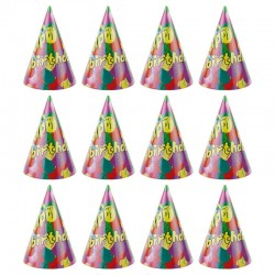 Coif Happy Birthday pentru aniversari, 20 cm, multicolor, set 12 bucati