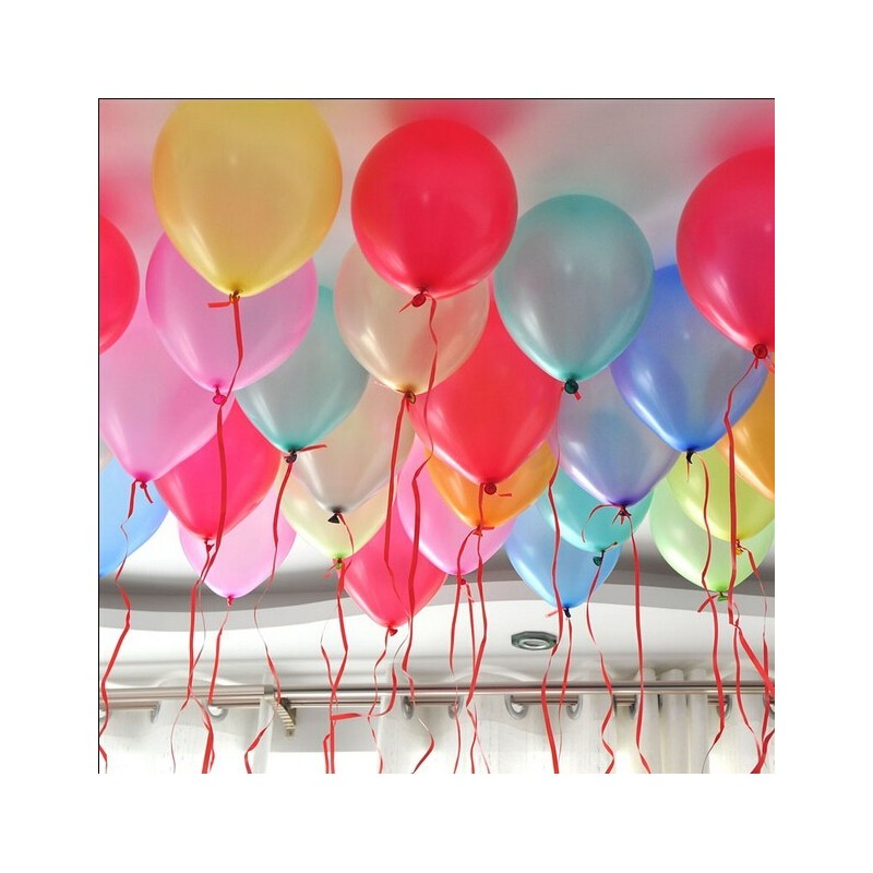 Baloane multicolore din latex, forma rotunda, 25X30 cm, 100 bucati