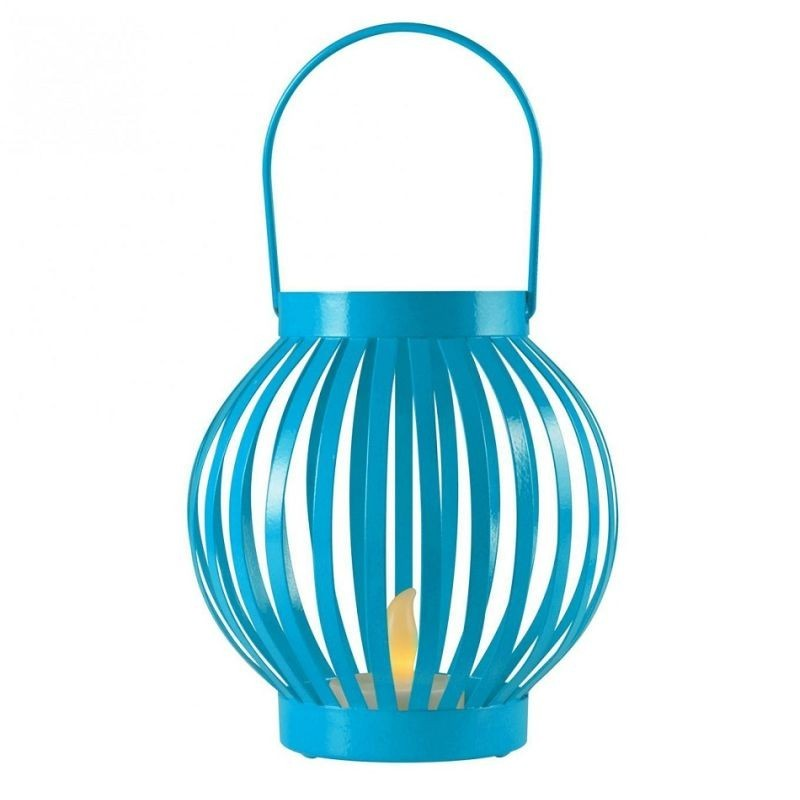 Felinar cu candela LED, efect flacara, 12x11 cm, metal, interior