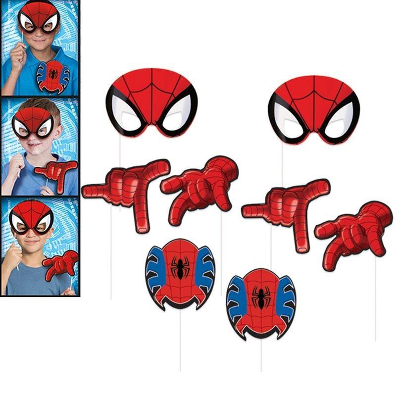 Propsuri foto Spiderman pentru petreceri copii, 8 piese, suport tip bat