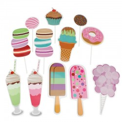 Props-uri Candy, accesorii photo booth petreceri, set 12 piese