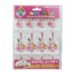 Decoratiuni Candy Bar pentru party bebelusi, print fata verso, set 8 piese