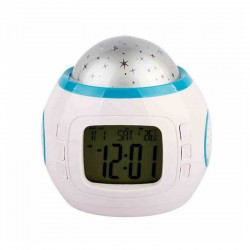 Ceas de birou muzical, proiectie stelute, LCD 1.96 inch, calendar, ABS alb