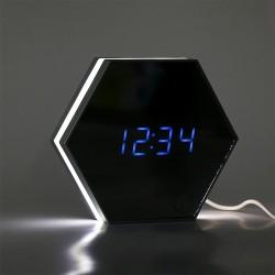 Ceas digital birou, lumina veghe, acumulator 2000 mA, calendar, termometru