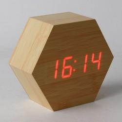 Ceas digital de birou, LED, alimentare duala, lemn, forma hexagonala