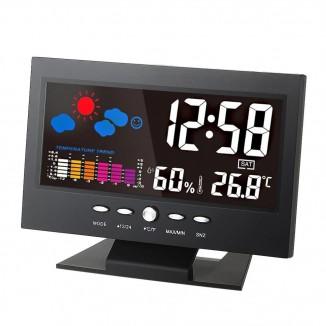 Ceas digital LED cu higrometru, termometru, LCD 5.3 inch, senzor de sunet