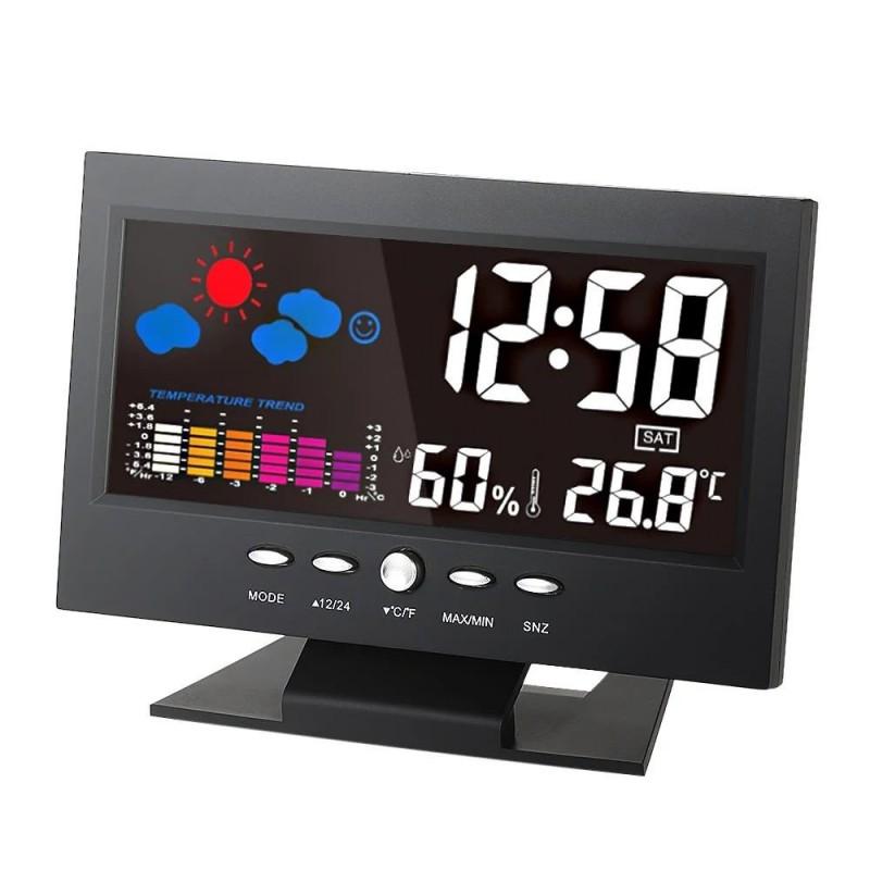 Ceas digital cu senzor de sunet, termometru, higrometru, LCD 5.3 inch