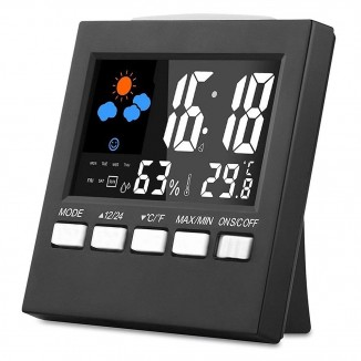 Ceas digital LED cu functie statie meteo interior, ecran LCD, calendar, alarma