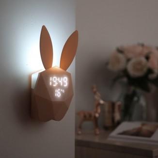 Ceas Iepuras muzical LED, senzor sunet, crepuscular, alarma, temperatura