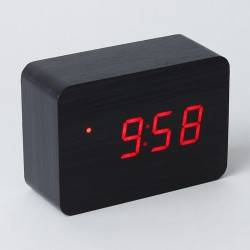 Ceas digital LED, din lemn, senzor sunet, data, temperatura, 3 grupe alarma, pentru birou