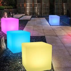 Taburet decorativ bar, iluminat LED RGB, telecomanda, IP65, forma cubica
